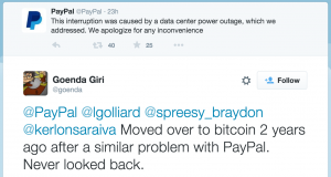 Twitter user suggesting Bitcoin over PayPal