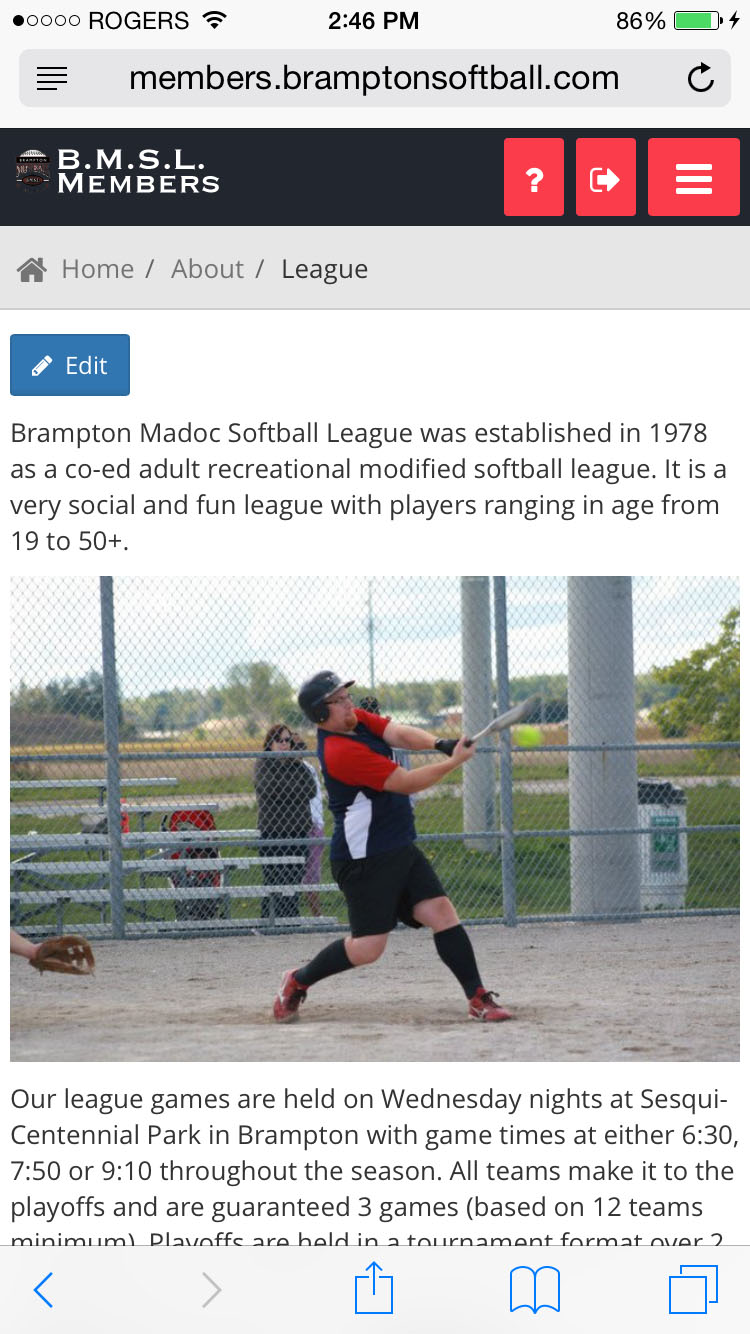 Mobile League Page