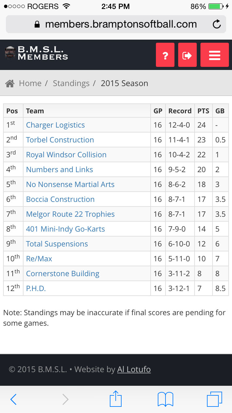 Mobile Standings Page