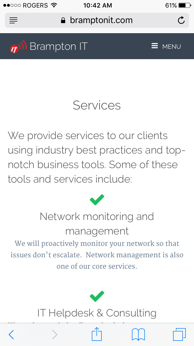 Mobile Services Page