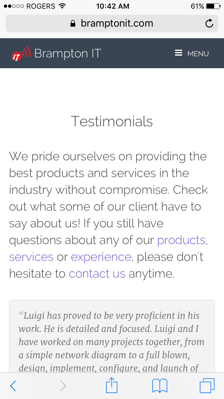 Mobile Testimonials Page