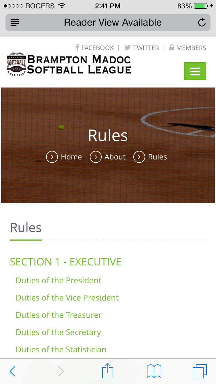Mobile Rules Page