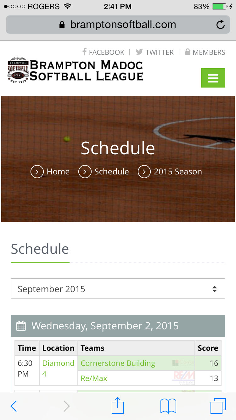 Mobile Schedule Page