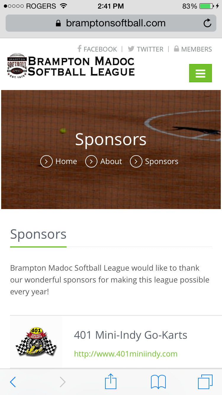 Mobile Sponsors Page