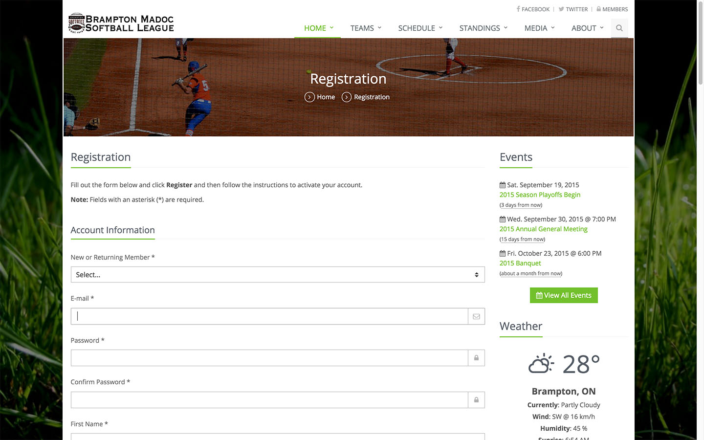 Player Registration Page