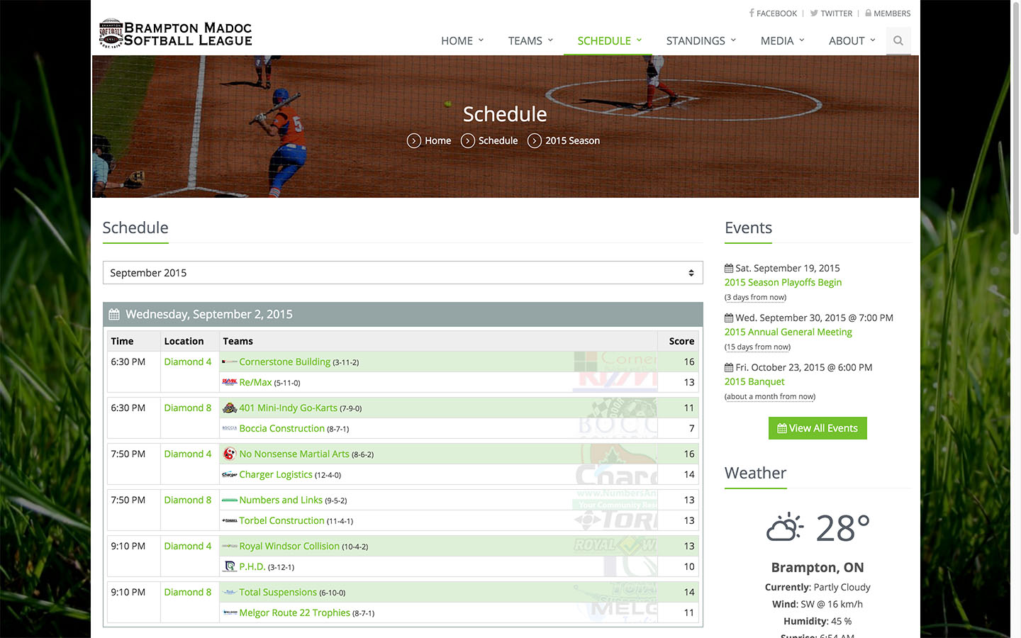 Schedule Page
