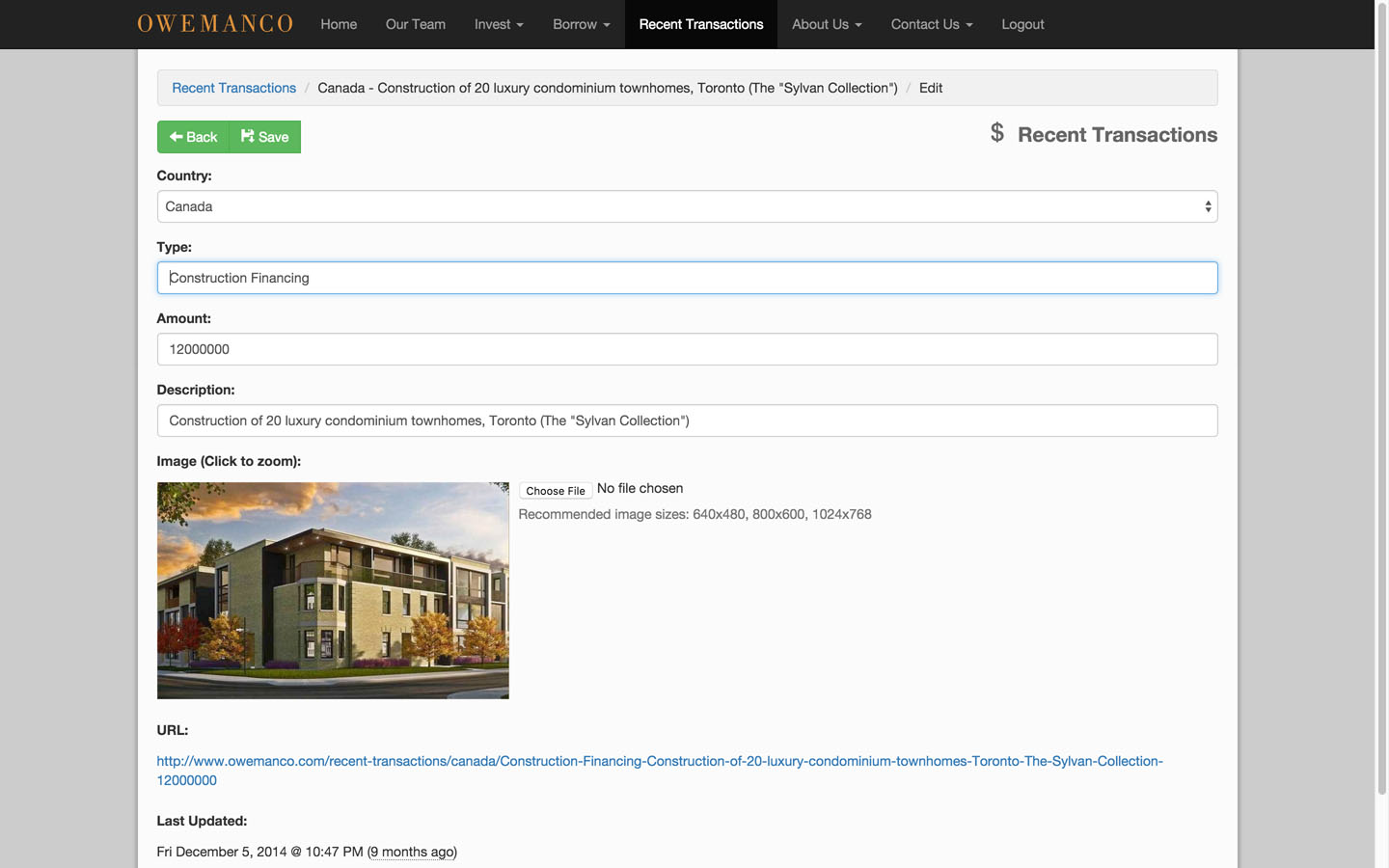 Administration Recent Transactions Edit Page