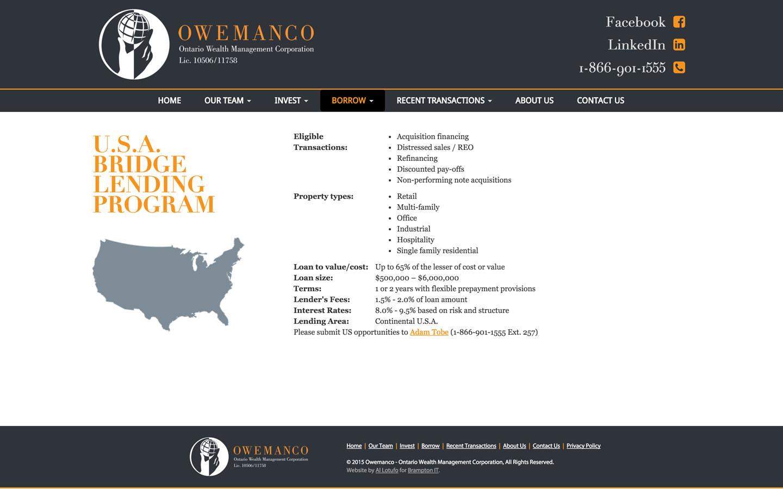 U.S.A. Bridge Lending Program Page