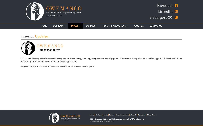 Investor Update Page