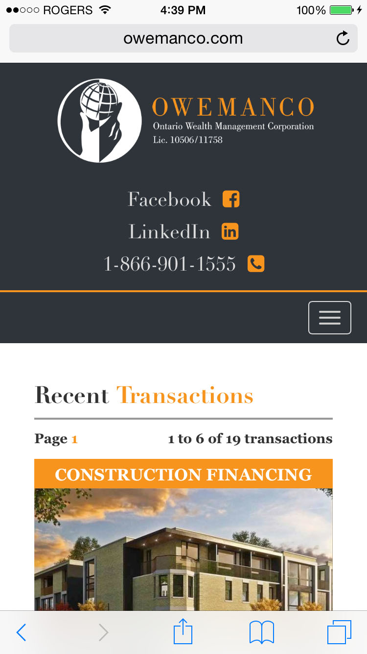 Mobile Recent Transactions Page